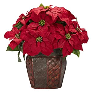 Nearly Natural 1264 Poinsettia with Decorative Vase Silk Flower Arrangement, Red 10