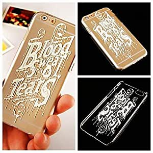 QHY Paint English Letter Pattern Transparent Back Case for iPhone 6
