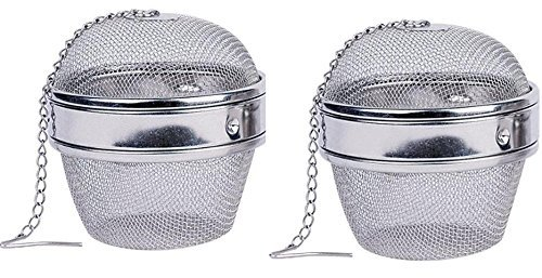2 pack Stainless Steel 3 Inch Spice Ball Tea Strainer Tea Infuser Seasoning Ball