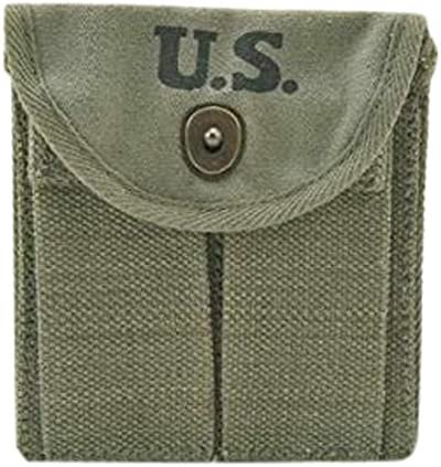Ultimate Arms Gear M1 M-1 Carbine Rifle Wwii U.S. Military Marked Od Olive Drab Green Canvas Magazine Ammo Ammunition Cartridge Rounds Pouch Fits Around Buttstock Stock oder Pistol Waist Belt