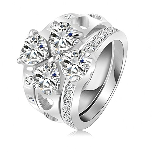Daesar Gold Plated Rings Womens Clover Cubic Zirconia Rings Promise Rings Size 6.5 ()
