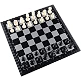 """Amerous 10"""" x 10"""" Travel Magnetic International Chess Set with Folding Chess Board"""