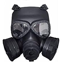 Richermall M04 Airsoft Tactical Protective Mask, Full Face Eye Protection Skull Dummy Toxic Gas Mask With Adjustable Strap for BB Gun CS Cosplay Costume Halloween Masquerade(No Batteries)