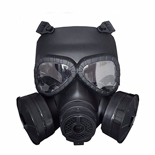 M04 Airsoft Tactical Protective Mask, Full Face Eye Protection Skull Dummy Toxic Gas Mask With Adjustable Strap for BB Gun CS Cosplay Costume Halloween Masquerade(No Batteries) (two filters, black) -