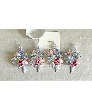 Yokoke Artificial Succulent Boutonniere Bouquet Corsage Wristlet Vintage Silk Fake Pink Rose Peony Unicorn Color Flowers Flocked Plants For Groom Bride Wedding Decor 1 Pc (corsage A) 1