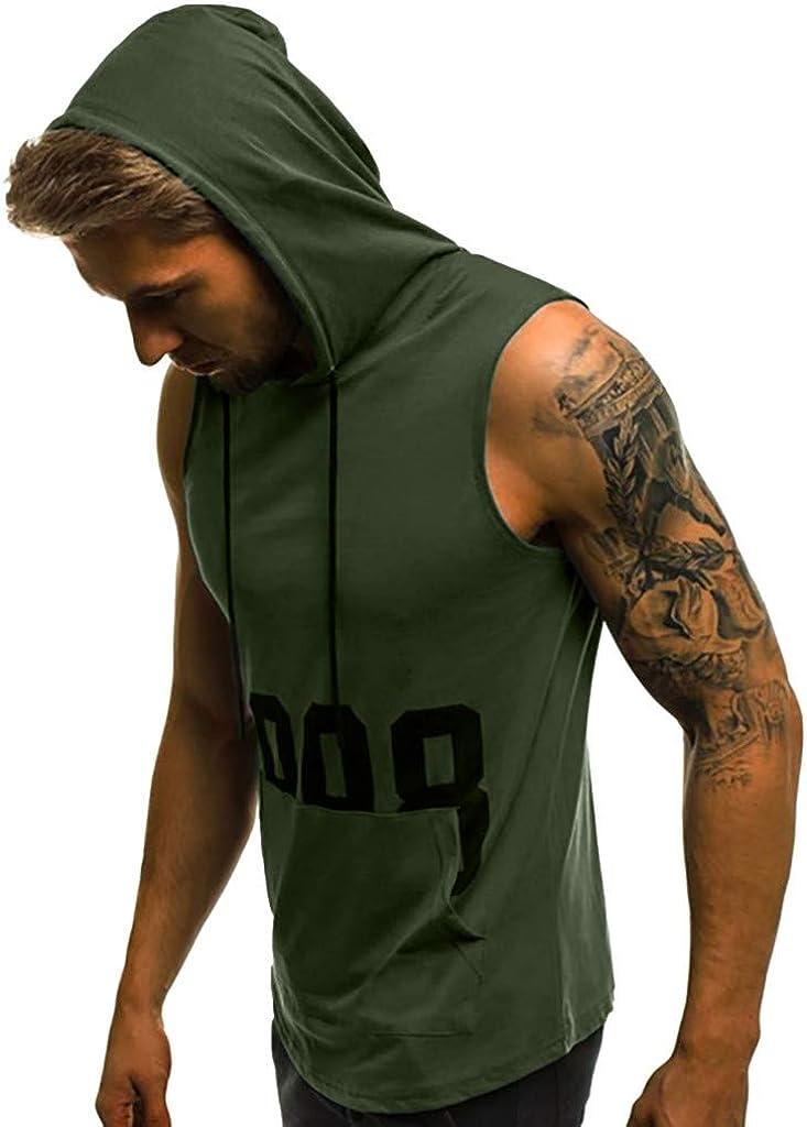 NPRADLA T Shirt Bodybuilding à Capuche sans Manches Fitness Muscle Print Tops à SéChage Serré Printemps éTé Tops Blouse Mode Casual Nouveau Hauts Armée Verte