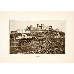 1907 Print La Rocca Fortress Umbria Italy Bridge Hilltop Historical Landmark - Original Halftone Print