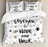 I Love You Queen Size Duvet Cover Set by Ambesonne, Hand Drawn I Love You to the Moon and Back Quote with Stars Celebration Theme, Decorative 3 Piece Bedding Set with 2 Pillow Shams, Cocoa Black