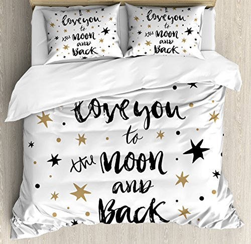 Ambesonne I Love You Duvet Cover Set King Size, Hand Drawn I Love You to the Moon and Back Quote Stars Valentine's Celebration, Decorative 3 Piece Bedding Set with 2 Pillow Shams, Cocoa Black,