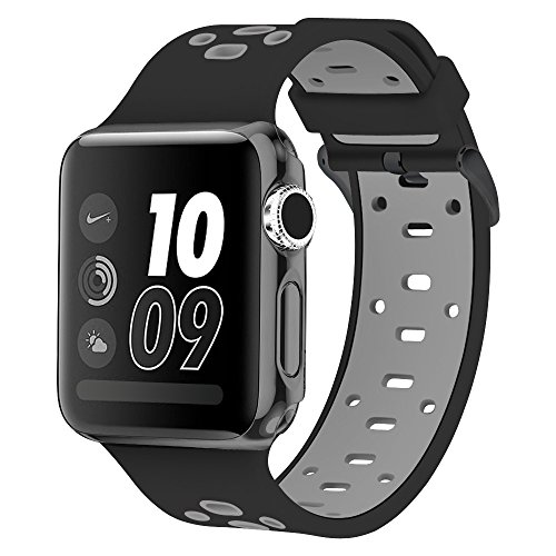 Price comparison product image Band for Apple Watch 42mm, Alritz Silicone Sport Straps Replacement Wristband Bracelet for Apple Watch Series 3 / Series 2 / Series 1 / Nike+, Free Protective Case Included
