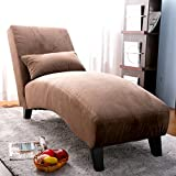 Merax Fabric Chaise Lounge Chair Leisure Sofa Living Room Sleeper Bed (Brown)
