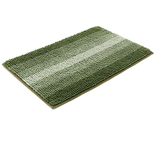 28x18 Inch Bath Rugs Made of 100% Polyester Extra Soft and Non Slip Bathroom Mats Specialized in Machine Washable and Water Absorbent Shower Mat,Green (Green Small Rug)