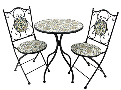 Lesera Ltd. Mosaic Tile Bistro Set Boston, (1 Table, 2 Folding Chairs)