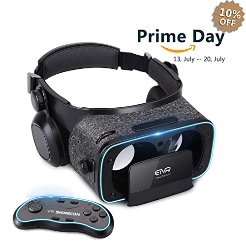 3D VR Headset With Remote Controller for 3D Movies & VR Games, Skin-Friendly Lightweight Comfortable Virtual Reality Headset with Stereo Headphone, Fit for 4.7