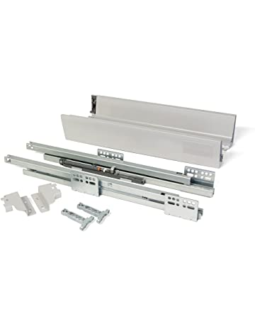 Emuca 3018825 Kit de cajón con cierre suave, gris metalizado, H204 x 450mm