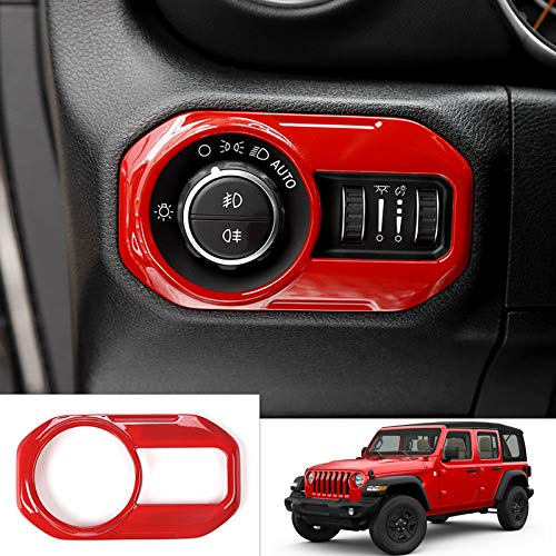 for Jeep Wrangler JL 2018 2019 ABS Interior Headlight Lamp Switch Cover Trim 1PCS (RED)