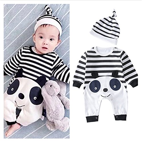 Mornbaby Newborn Cute Animal Romper Baby Long Sleeve Panda Chicken Strip Bodysuit Hat Outfit Set