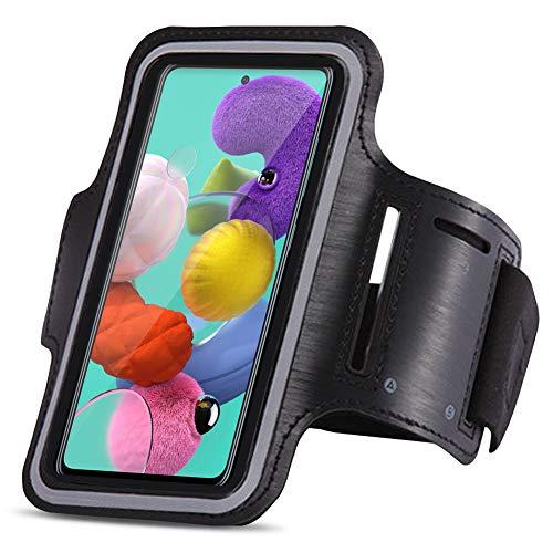 UC-Express Beschermhoes compatibel voor Samsung Galaxy A51 Jogging Mobiele Telefoon Tas Zwart Sportarmband Sport Hoes…