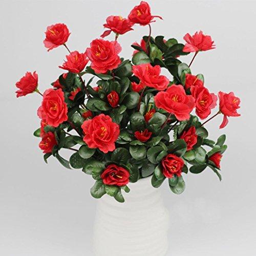 Vovomay Artificial Flower Artificial Bouquet Simulation Of Azalea Safflower Home Wedding Decoration (red) ()