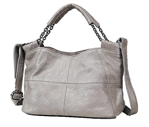 ZM-leather Handbag 2018 New Shoulder Bag Casual Bag Ladies Simple Leather Soft Leather Messenger Bag Handbag Grey