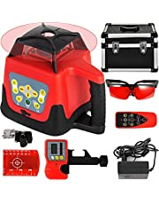 VEVOR Red Laser Level Rotary Self Leveling Measuring Automatic Rotating Red Beam with Receiver Remote Control Carrying Case