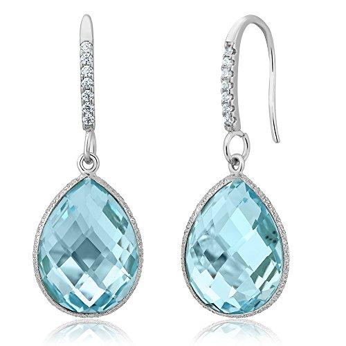 18.00 Ct Blue Topaz 16x12mm Pear Shape 925 Silver Dangle Earrings
