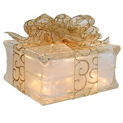 Lighted Glass Block with Sheer Gold Ribbon