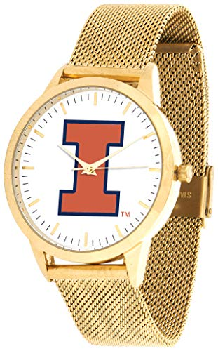 (Illinois Fighting Illini - Mesh Statement Watch - Gold Band)
