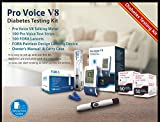 Pro Voice V8 Diabetes Testing kit (1 Pro Voice V8 Talking Meter, 100 Test Strips, 100 Lancets, 1 Painless Design Lancing Device & Carry Case)