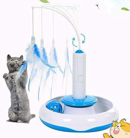 STKJ Juguete Interactivo para Gatos con Plumas De 360 Grados, Juguete Eléctrico para Gatos con Rotación, Juguetes Interactivos para Gatitos con Movimiento De Plumas De Gato para Jugar con Gatos: Amazon.es: Hogar