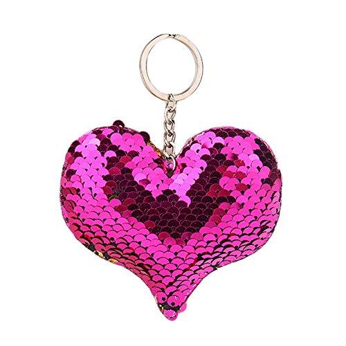 ACTLATI Glitter Sequins Heart Charm Keychain Bag Hanging Decoration Key Ring