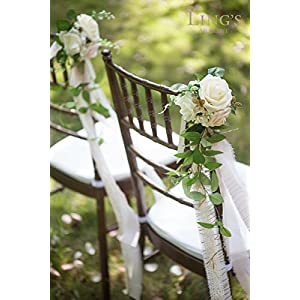 Ling's moment Wedding Aisle Decorations Flowers for Chairs Set of 8 Cream Blush Pew Flowers with Drapes 5