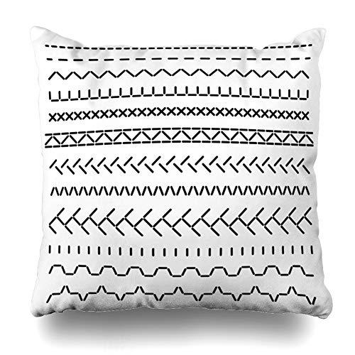 DaniulloRU Throw Pillow Covers Fringe Brush Stitched Borders Sewing Machine Seams Structure Zag Thread Stitch Embellishment Pattern Home Decor Sofa Cushion Case Square Size 18 x 18 Inches Pillowcase