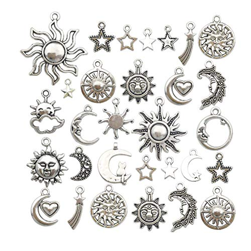 Youdiyla 84pcs Silver Sun Moon Star Charms Collection, Mix Sun Moon Star Metal Pendant Craft Supplies Findings for Necklace and Bracelet Jewelry Making (HM250)