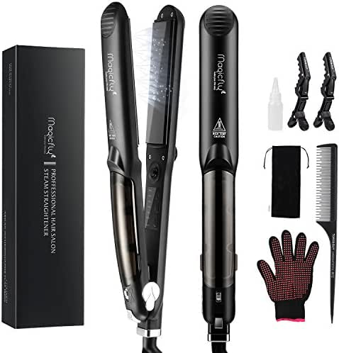 Steam Flat Iron Hair Straightener, Magicfly Professional Salon Ceramic Tourmaline Flat Iron with Vapor Heat up Fast, 360 Swivel Cord, 5 Modes For Dry & Wet Hair, Black