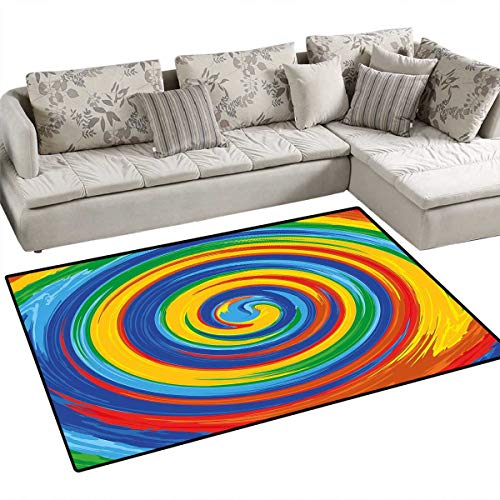 Bath Whirlpool System - Rainbow Girls Rooms Kids Rooms Nursery Decor Mats Vivid Swirls Whirlpool Rainbow Colored Hand Drawn Artwork Optical Illusions Grunge Bath Mats for Floors 3'x5' Multicolor