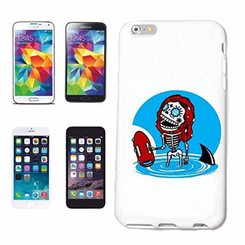 """cas de téléphone iPhone 6+ Plus """"SKULL LIFEGUARD BEACH SURFING SURF LONGBOARD ONDES DE SURF SHOP DEBUTANT"""" Hard Case Cover Téléphone Covers Smart Cover pour Apple iPhone en blanc"""