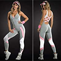 Festnight Running Overalls,Women Sport Yoga Set Contrast Color Bandage Backless Sleeveless Fitness Jumpsuits Gym Running Bodysuits Workout Suit Grey