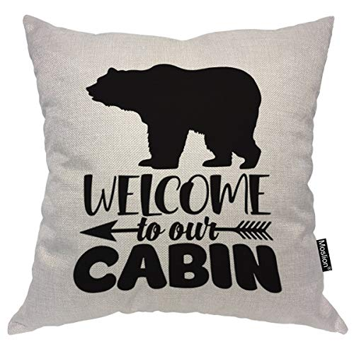 (Moslion Throw Pillow Cover Welcome to Our Cabin 18x18 Inch Bear Portrait Arrow White Black Background Square Pillow Case Cushion Cover for Father's Day Home Car Decorative Cotton Linen)