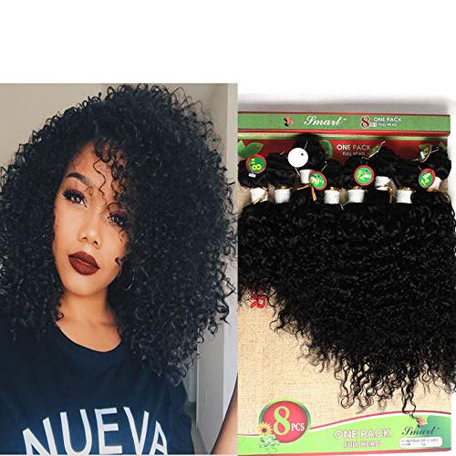 Women's Blond Weft Kinky Curly Hair Bundles 8-14Inch Mixed Length 8Piece/lot Afro Jerry Curl Hair 1Pack Full Head Tangle Free Weave Sew in Hair Extensions (Black 1B)
