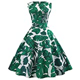 Anxinke Women Retro Sleeveless Floral Printed O Neck Swing Dresses (L, Green)