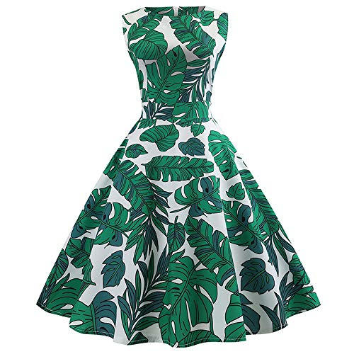 Anxinke Women Retro Sleeveless Floral Printed O Neck Swing Dresses (L, Green) by Anxinke Women Dress