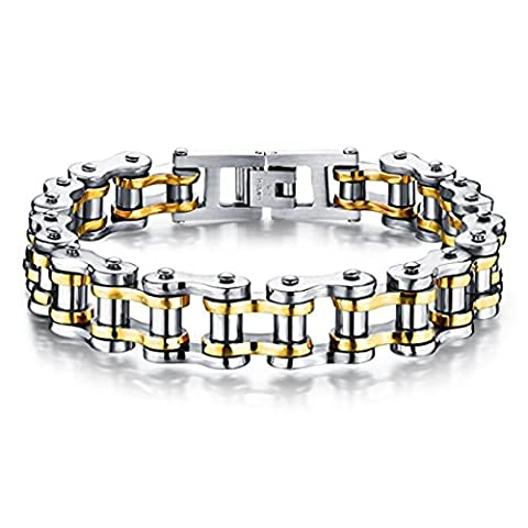 Mens Stainless Steel Bracelet Motorcycle Biker Chain Wristband Cool Rock Band Link Bangle by Feraco,Gold (Men Gold Over Silver Chain)