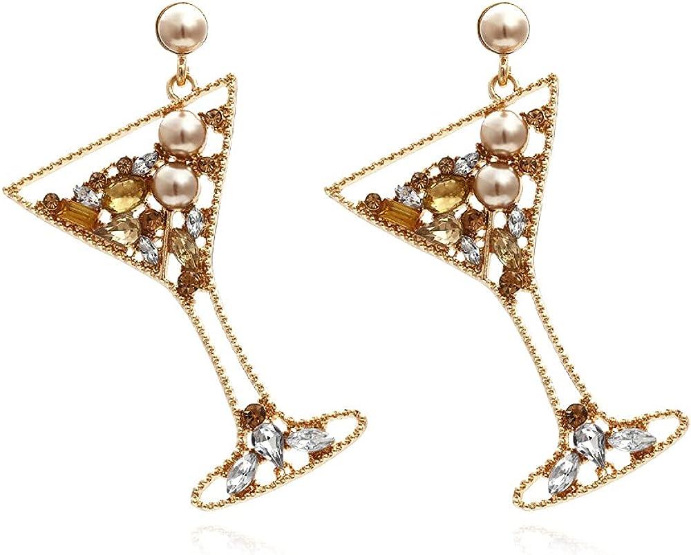 EORUBE Food Earrings for Women Wine Glass Earrings Pizza Earrings Beaded Golden Dangle Crystal Earrings Girl Fashion Dangle Drop Earring for Club Evening Party