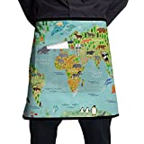 Crazy Popo Pocket Waist Apron For Men & Women, Kid Animal World Map Waist Tie Half Bistro Apron With 2 Pockets For Chef, Baker, Servers, Waitress, Waiter