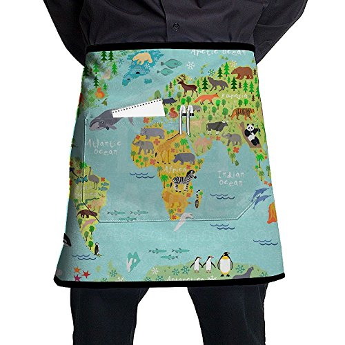 Crazy Popo Pocket Waist Apron For Men & Women, Kid Animal World Map Waist Tie Half Bistro Apron With 2 Pockets For Chef, Baker, Servers, Waitress, Waiter by Crazy Popo