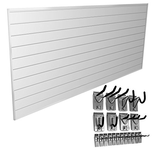Proslat 33008 Basic Bundle with Slat Wall Panels and Hook Kit, White by Proslat