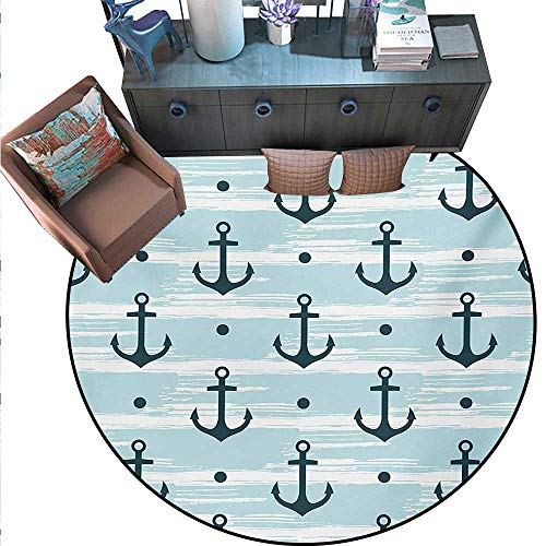 Anchor Round Rug Kid Carpet Pattern with Anchors Modern Stylized Adventurous Striped Coastline Marine Circle Rugs for Living Room (59