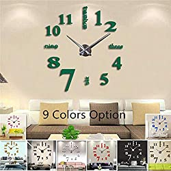 FASHION in THE CITY New 3D DIY Mirror Surface Wall Clocks Modern Design Living Room Decorative Wall Watches (Green)