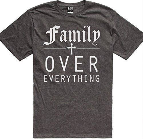 CaliDesign Men's Charcoal Grey Family 1st Over Everything Blood Familia T Shirt, 2X - XXL - - Tee Familia